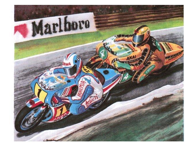 Jawa TS 500 + Yamaha YZ 500 + 2x motocyklista
