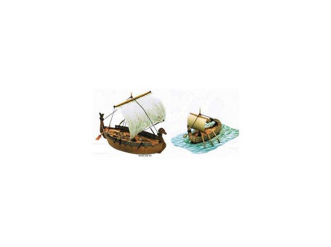 egyptský papyrový člun + fénická obchodní loď