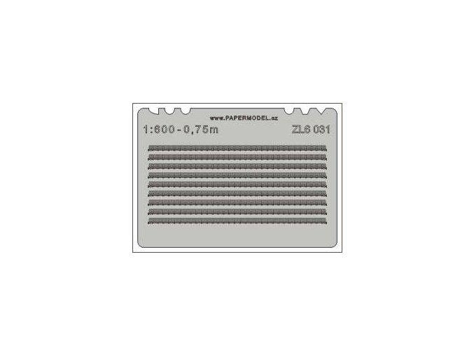 lodní zábradlí třířadé rovné 1:600