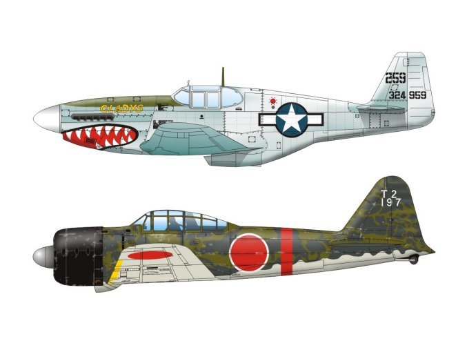 Mustang P-51 + A6M2 zero (Pacific 1944)