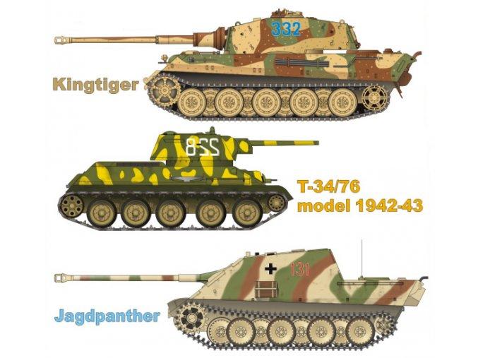 Kingtiger + T-34/73 model 1942/43 + Jagdpanther (Tanky - východní fronta)