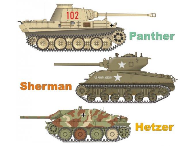 Panther + Sherman + Hetzer (Tanky - západní fronta)