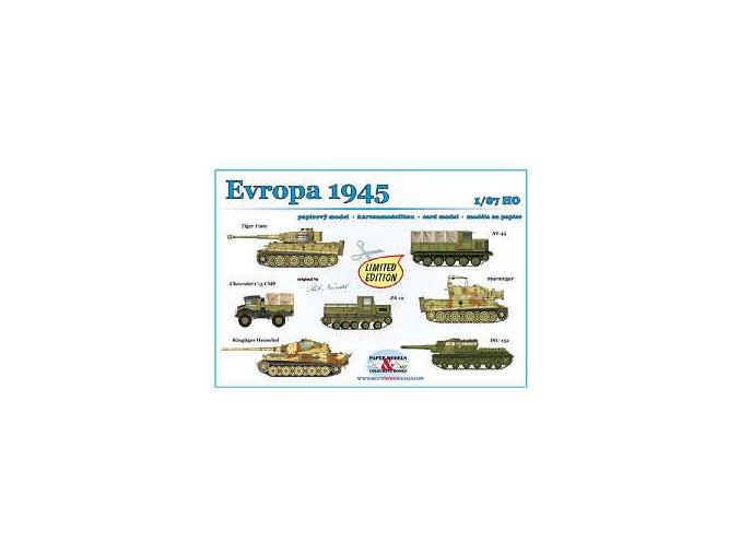 Evropa 1945 -- Tiger I late, AT-45, Chevrolet C15 CMP, JA-12, Sturmtiger, Kingtiger Henschel, ISU-152