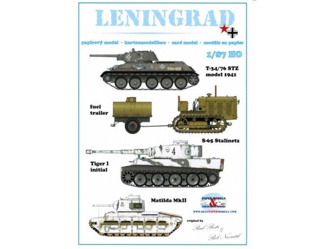 Leningrad - T-34/76 STZ model 1941, S-65 Stalinetz tractor + fuel trailer, Tiger I Initial, Soviet Matilda MkII