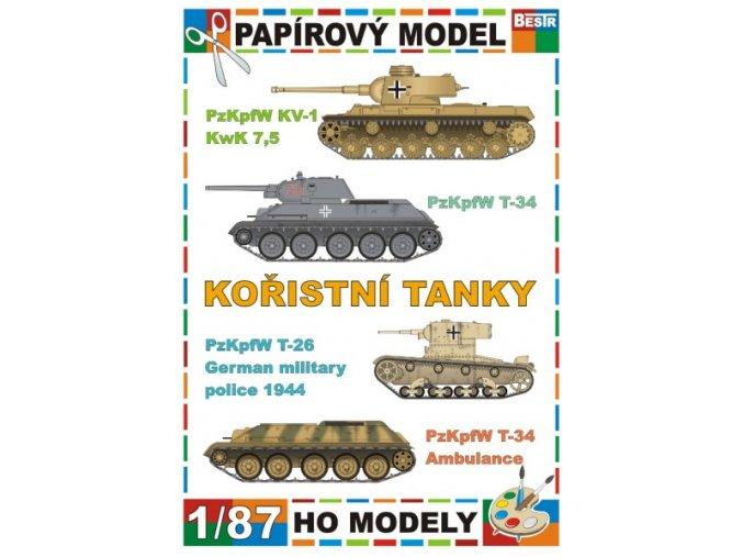 PzKpfW KV-1 KwK 7,5 + PzKpfW T-34 + PzKpfW T-26 German military police 1944 + PzKpfW T-34 Ambulance (Kořistní tanky / Captured tanks)