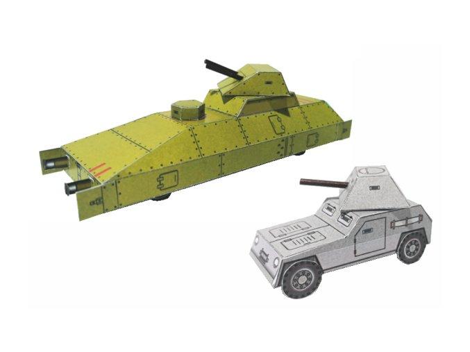 obrněný vlak - panceřový vagon a auto