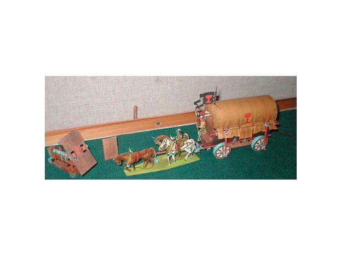 husitský vůz + figurky koní a jezdců