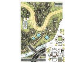 základní plocha, terén + autobusová zastávka + hradlo Skalka + tunel