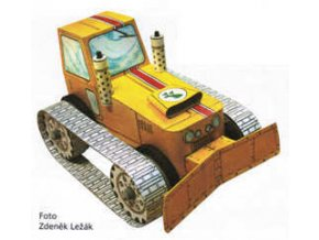 pásový traktor / buldozer na gumový pohon + figurka startéra