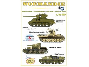 Normandie - M4A3(W)76 HVSS Sherman, Flak Panther Ausf D, Panzer IV Ausf C, M 35 Tractor