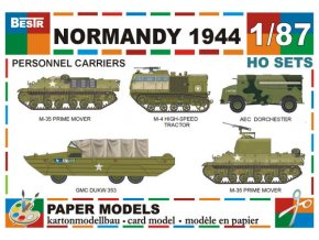 M-35 Prime Mover + M-4 high-speed tractor + AEC Dorchester + GMC DUKW 353 + M-35 Prime Mover (M10A1) (Normandy 1944)