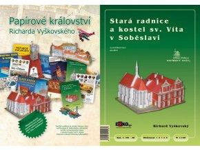 Papírové království Richarda Vyškovského - kniha + model Stará radnice a kostel sv. Víta v Soběslavi