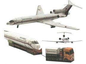 TU-154M + těžký tahač MAN + přepravní podvalník