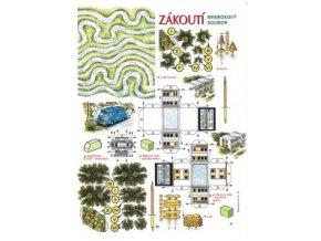 Lužní potok + Š 1203 - Mikrobus + 2x řadový dům - typická + řadová sekce + lípy + smrk