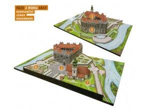 Vývoj hradu - 1617 - komplet - renesanční zámek Hohenburg - renesance
