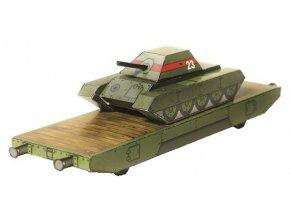 obrněný vlak - plošinový vůz s tankem