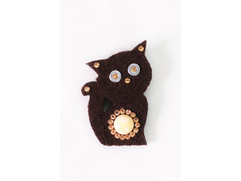 Brož hnědá kočička - Bazar