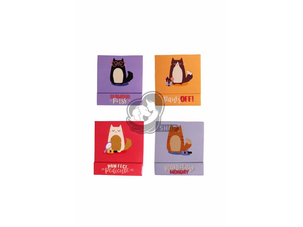 Pilníčky na nehty s kočičkami - různé barvy