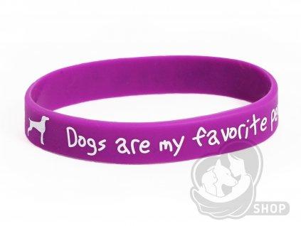 Náramek fialový Dogs are my favorite people