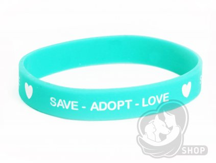 Náramek tyrkys SAVE - ADOPT - LOVE