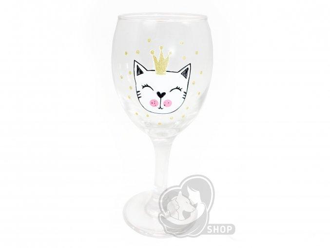 Sklenice na víno s kočkou