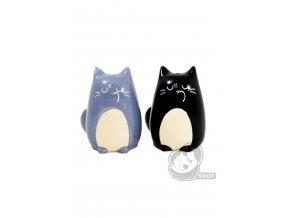 Keramická solnička a pepřenka ve tvaru koček