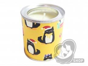 Vánoční svíčka v plechovce s motivem koček - různé barvy