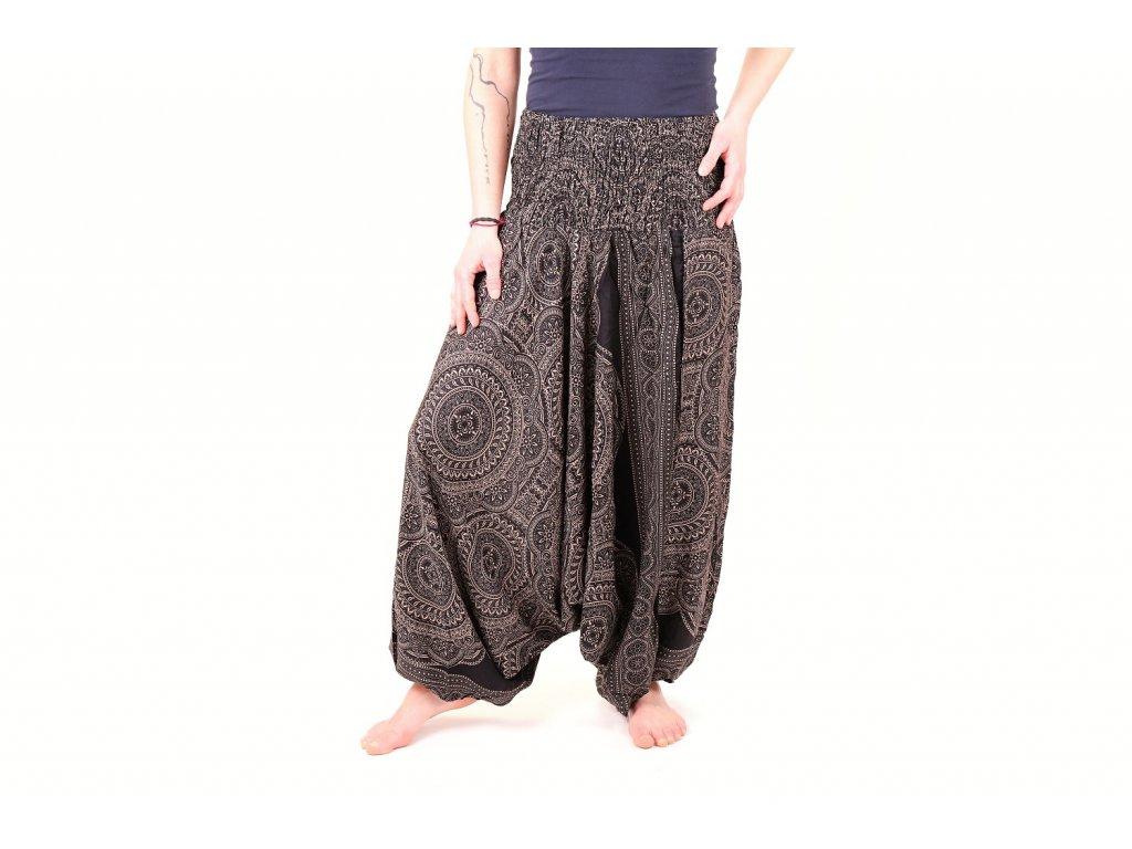 harémové kalhoty mandaly černobílé