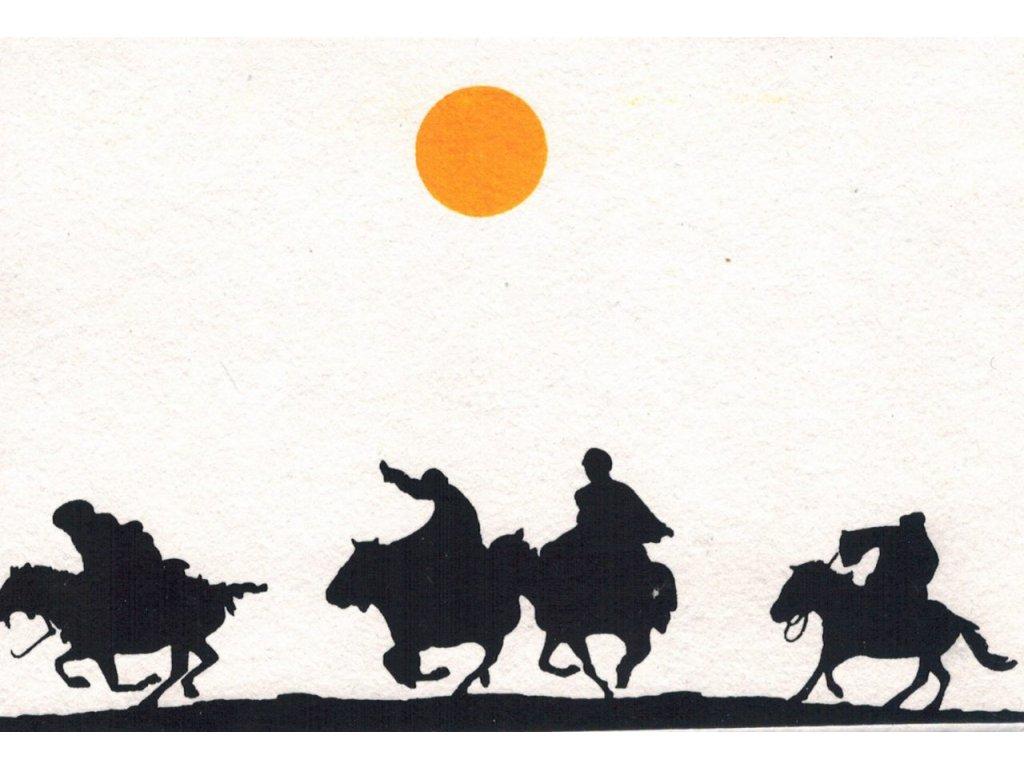 Přání s nomády - čtyři muži na koních v běhu