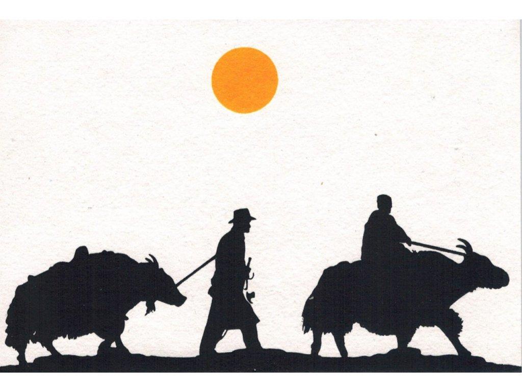 Přání s nomády - dva nomádi s jaky