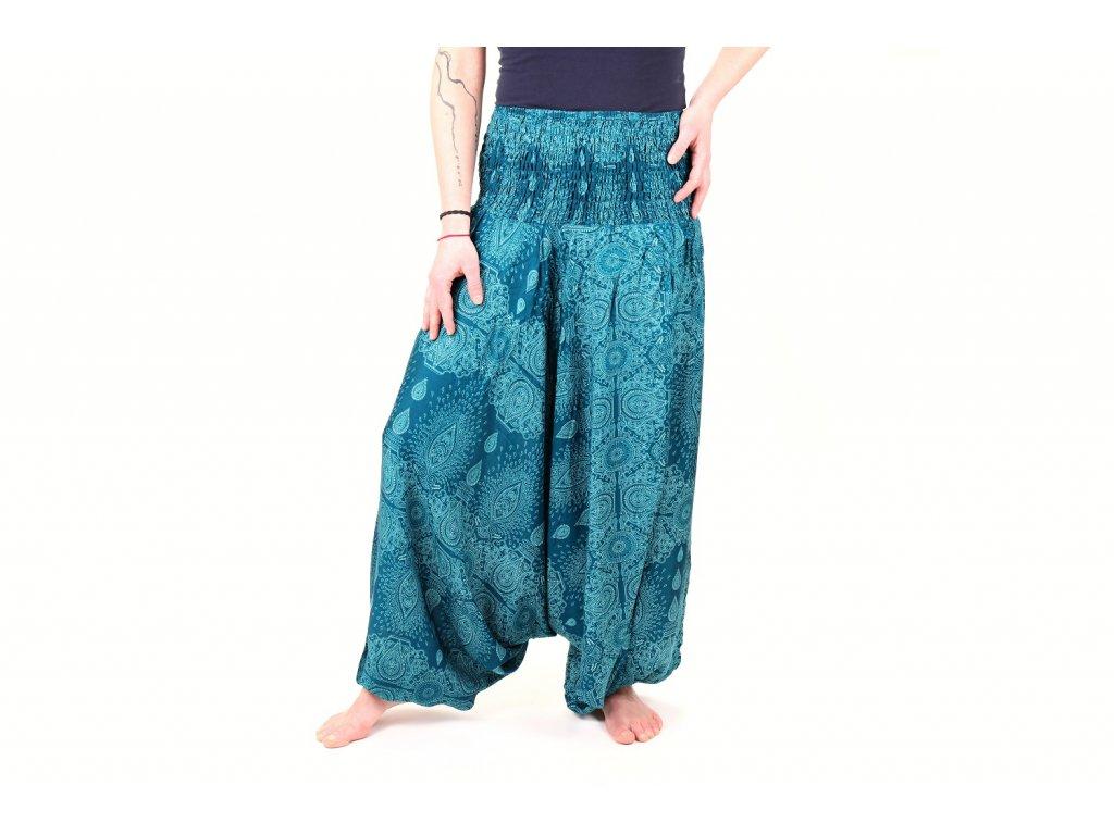 orientalni kalhoty damske modre