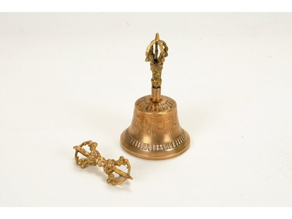 Tibetský rituální zvonek dilbu a dorje velký