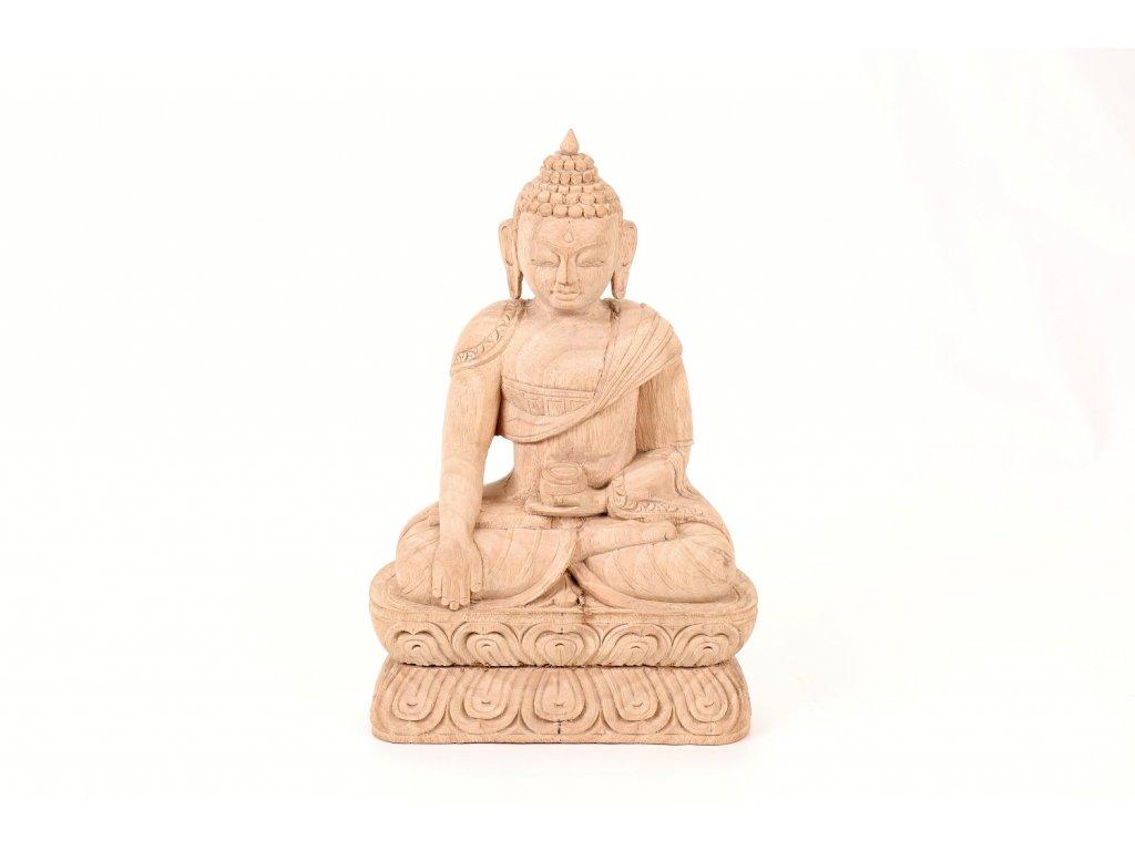 Buddha bílé dřevo