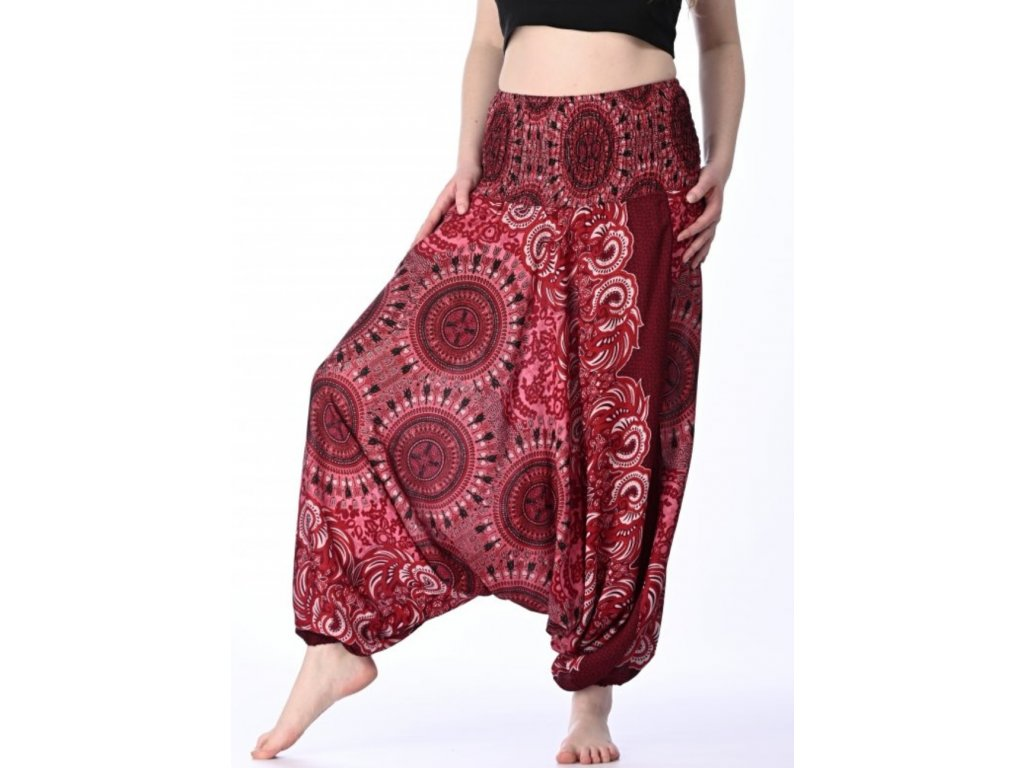 haremove kalhoty damske cervene mandaly