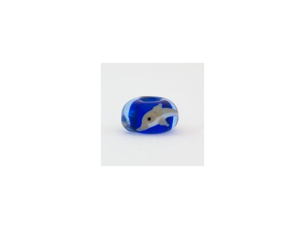 Skleněná perla delfín