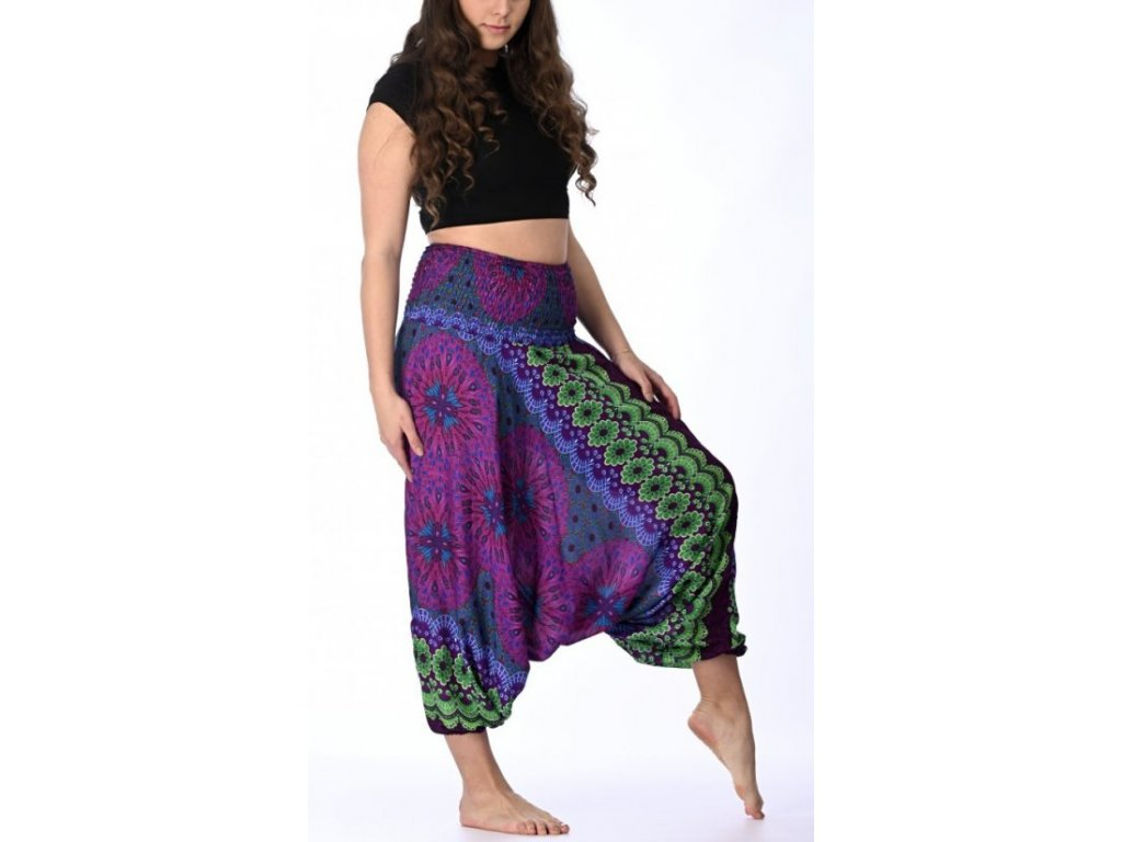 orientalni kalhoty faialovozelene kruhy 1