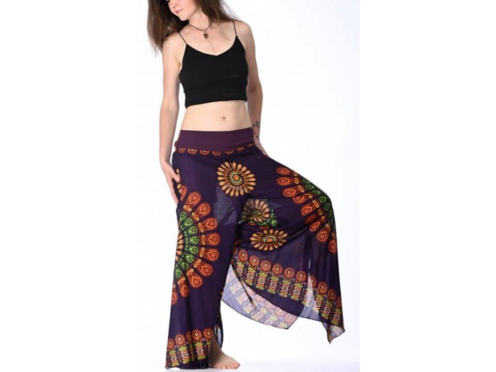 damske kalhoty fialove mandala 1