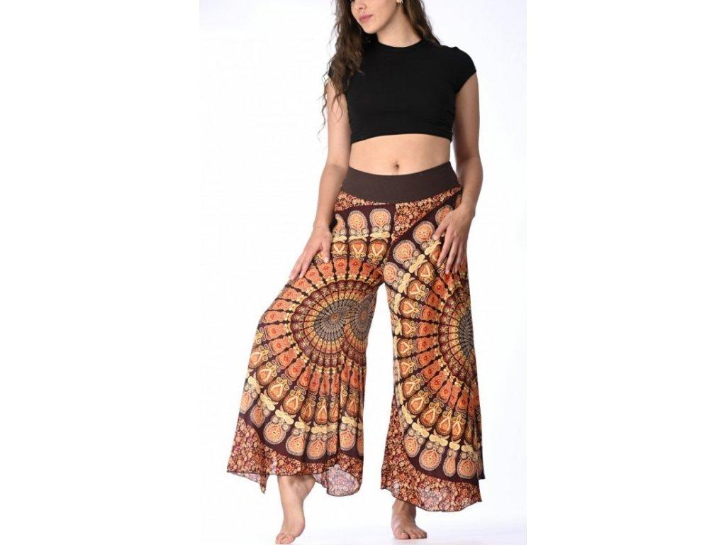 damske kalhoty oranzohnede mandala 1