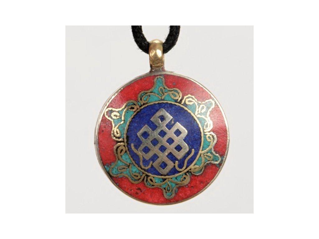 Přívěsek kovový mandala - nekonečný uzel červený 2