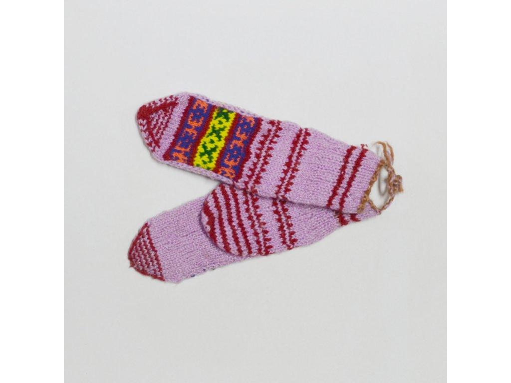 Ponožky vlněné se vzorem - dětské C