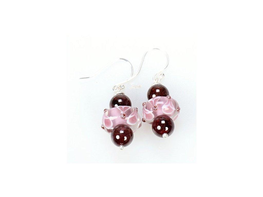 náušnice - růžové okvětní lístky