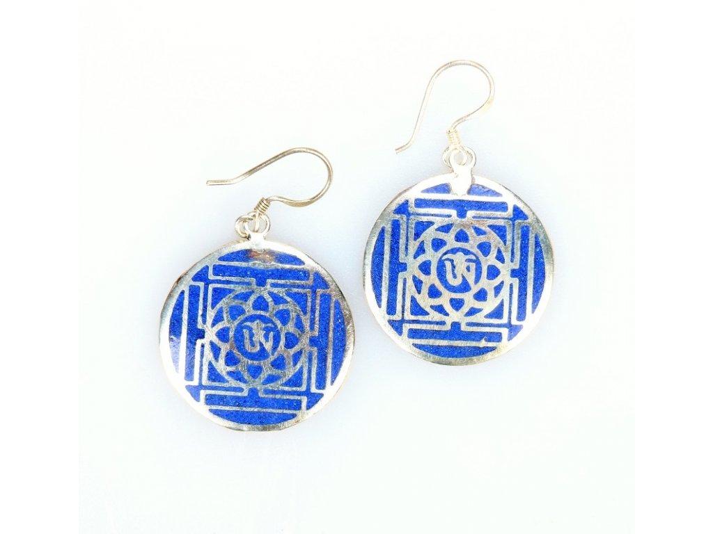 Náušnice mandala v modré