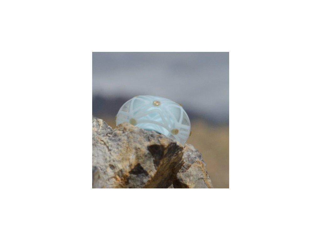 Skleněná perla v liniích Modrá