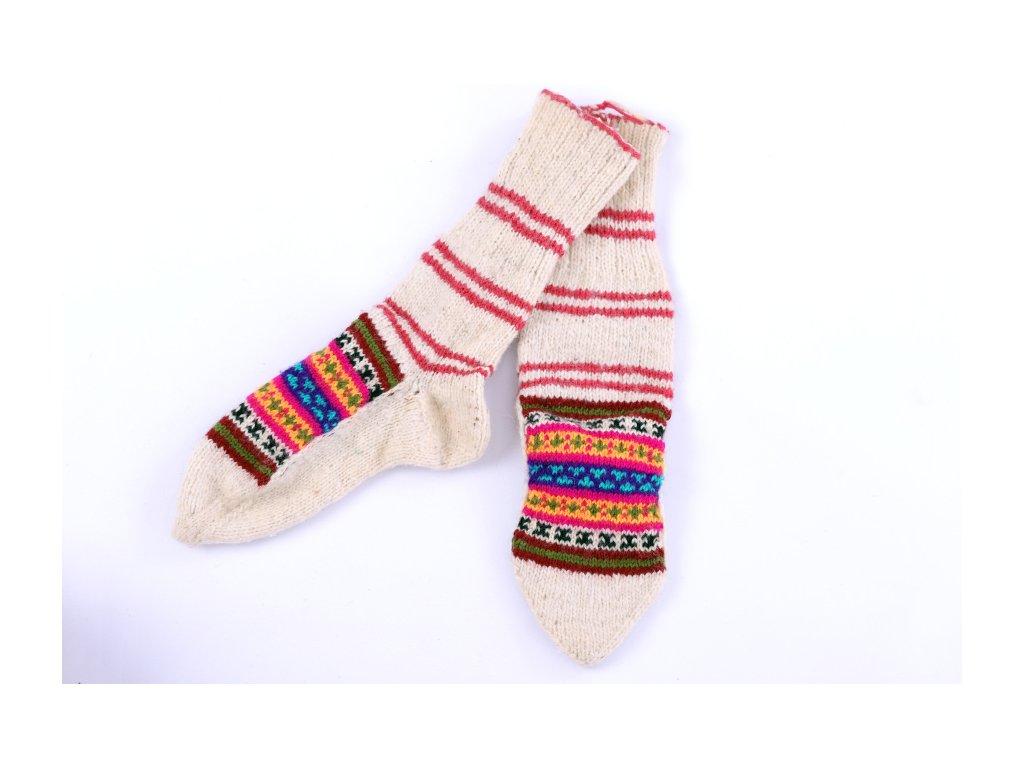 Ponožky vlněné se vzorem - dětské K