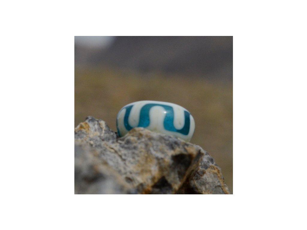 Skleněná perla tibetský lem Tyrkysová