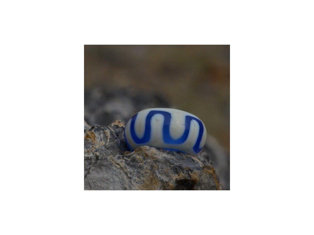 Skleněná perla tibetský lem modrá