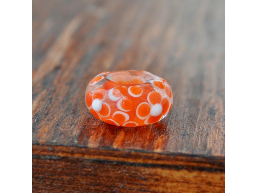 Skleněná perla oranžový květ