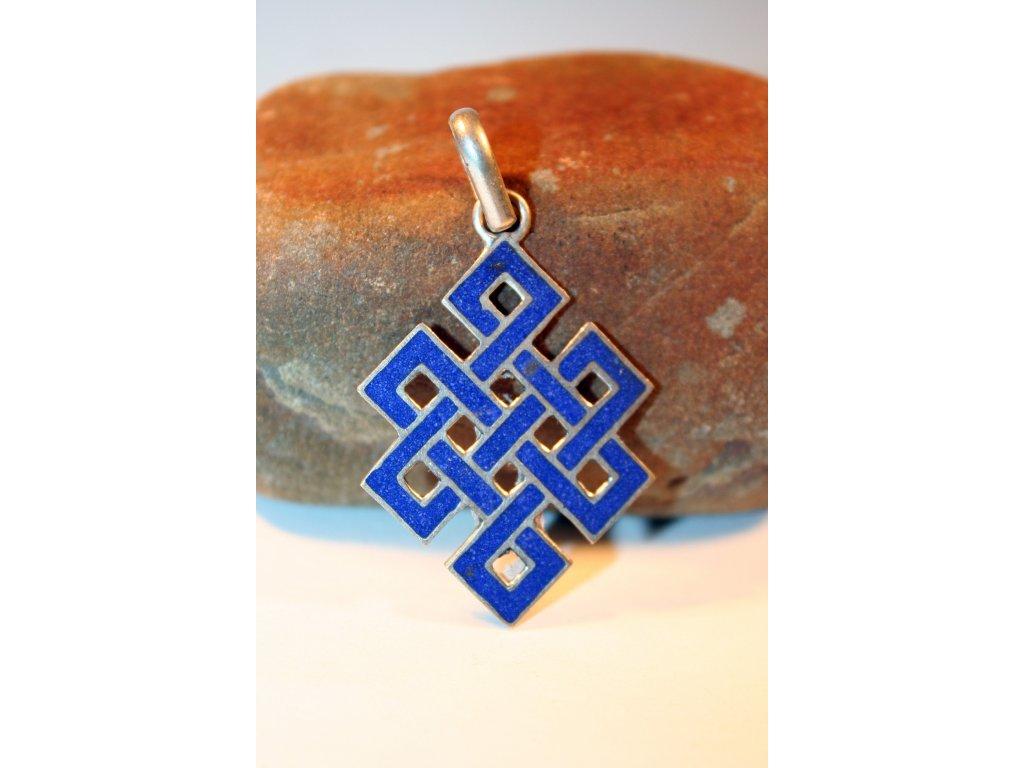 Nekonečný uzel - ostrý, modrý kámen
