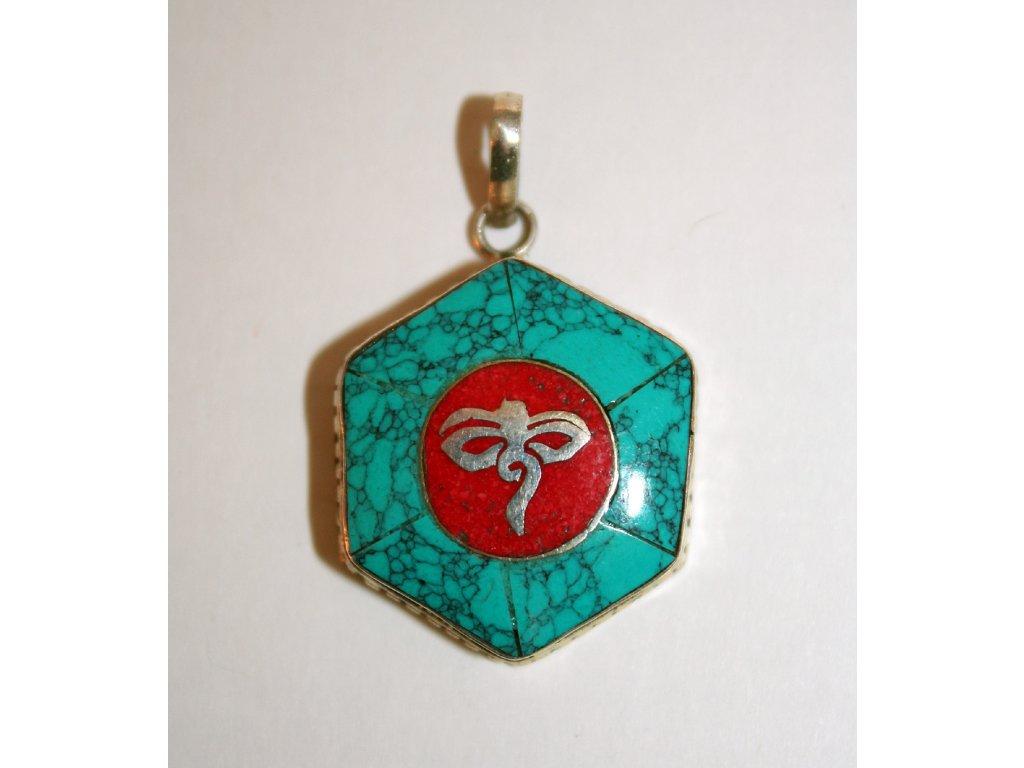 Přívěsek Budhovy oči - šestiuhelník - silver