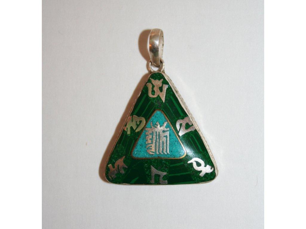 Přívěšek Kalachakra zelený - silver